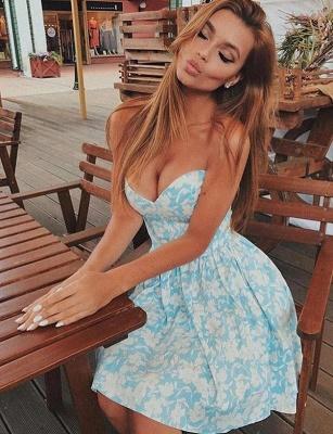 Moda sexy vestido de regreso a casa | una línea de estampado floral cari_o corto_1