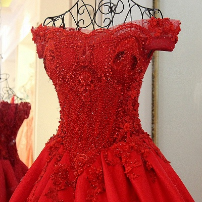Exquisite Off the Shoulder Beadings Long Quinceanera Dress_2