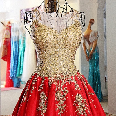 Golden Appliques Red A-line Brush Train Quinceanera Dresses_3