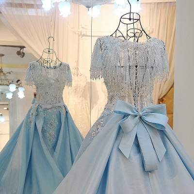 Crystal Beading Short Sleeves Appliqued Court Train Quinceanera Dresses_5