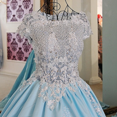 Glamorous Appliqued Lace-up Ball Gown Quinceanera Dressses_3