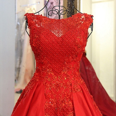 Red Beading Sleeveless Long Train Quinceanera Dresses_3