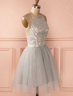 Glamorous Halter Tulle Quinceanera Appliques Backless Dama Dress_4
