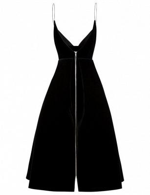 Simple Quinceanera Zipper Spaghetti Straps Tea-Length Dama Dress_4