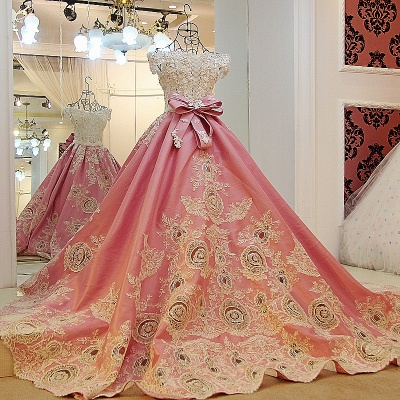 Pink Ball-gown Pearl Beading Appliques Court Train Quinceanera Dresses_2