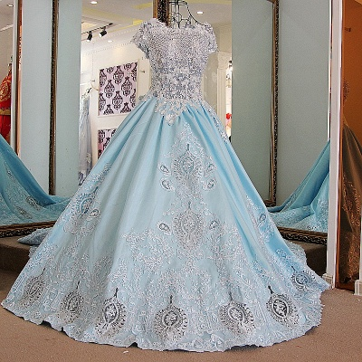 Glamorous Appliqued Lace-up Ball Gown Quinceanera Dressses_1