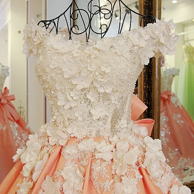 Floral Appliques Ball Gown Off-the-shoulder Quinceanera Dresses_3