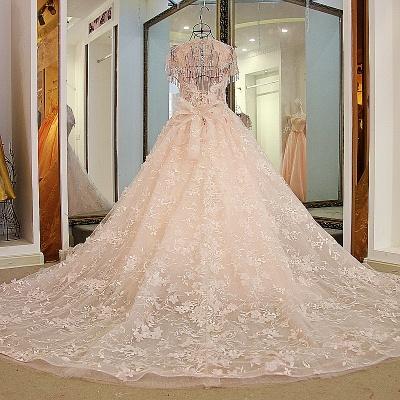 Court Train Appliques Crystal Wraps Quinceanera Dresses_3
