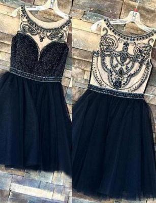 Elegant Beading Sleeveless Jewel Tulle Quinceanera Short Sweet 16 Dama Dress_1