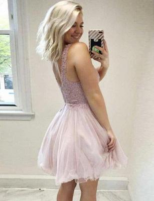 Elegante vestido de regreso a casa sin mangas | una línea de apliques con cuello en V Mini_3