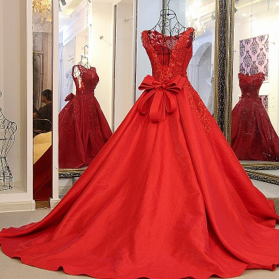 Red Beading Sleeveless Long Train Quinceanera Dresses_2