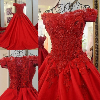 Exquisite Off the Shoulder Beadings Long Quinceanera Dress_1