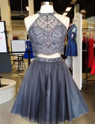 Two Piece Beading Quinceanera Sleeveless Jewel Mini Dama Dress_1