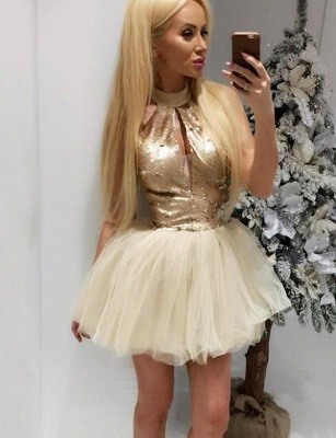 Stylish High Neck Quinceanera Sequins Sleeveless Tulle Short Sweet 16 Dama Dress_1