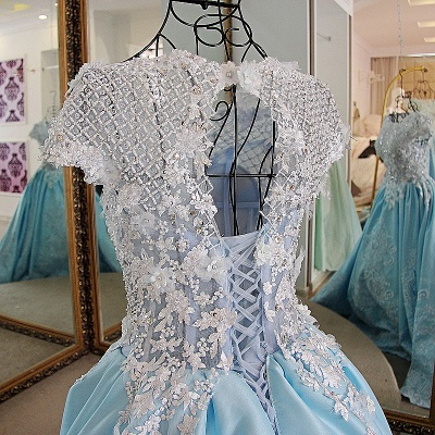 Glamorous Appliqued Lace-up Ball Gown Quinceanera Dressses_4