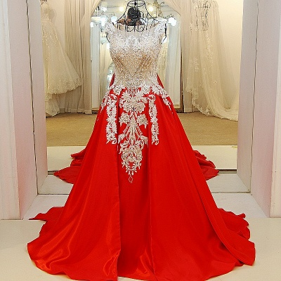 Luxurious Beading Golden Appliques Sleeveless Red Quinceanera Dresses_1