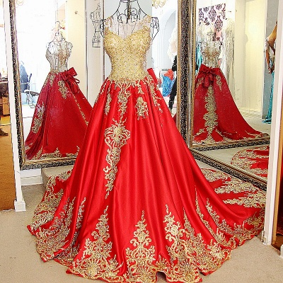Golden Appliques Red A-line Brush Train Quinceanera Dresses_1