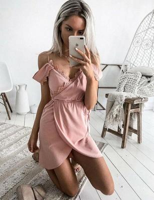 Encantador cortos vestido de regreso a casa | con una línea de encaje correas espaguetisy cintas_3