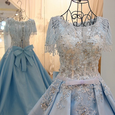 Crystal Beading Short Sleeves Appliqued Court Train Quinceanera Dresses_2