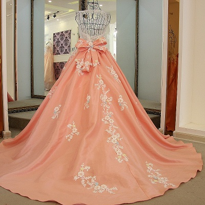 Sleeveless Ball-gown Flower Appliques Crystal Quinceanera Dresses_2