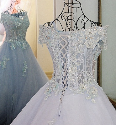 Cap Sleeves Sweep Train Tulle Appliques Quinceanera Dresses_4