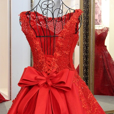 Red Beading Sleeveless Long Train Quinceanera Dresses_4
