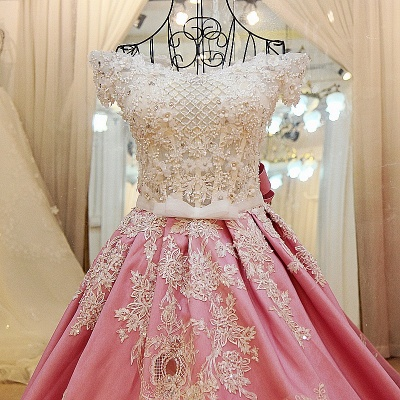 Pink Ball-gown Pearl Beading Appliques Court Train Quinceanera Dresses_4