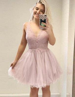 Elegante vestido de regreso a casa sin mangas | una línea de apliques con cuello en V Mini_1