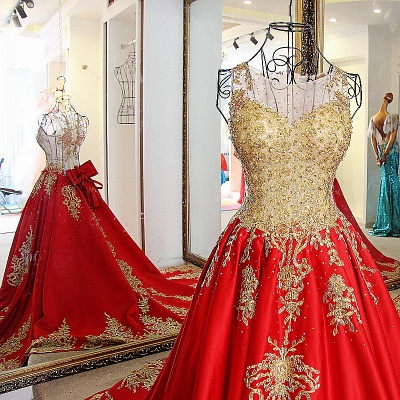 Golden Appliques Red A-line Brush Train Quinceanera Dresses_4