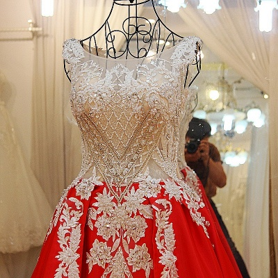 Luxurious Beading Golden Appliques Sleeveless Red Quinceanera Dresses_3