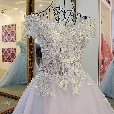 Cap Sleeves Sweep Train Tulle Appliques Quinceanera Dresses_3