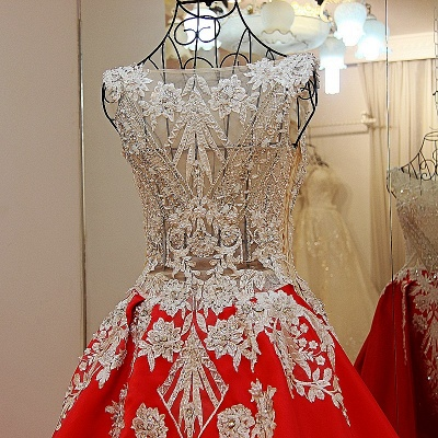 Luxurious Beading Golden Appliques Sleeveless Red Quinceanera Dresses_4