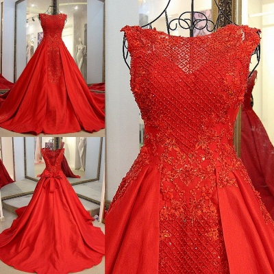 Red Beading Sleeveless Long Train Quinceanera Dresses_5