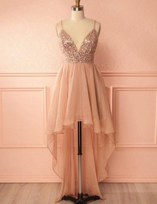 Charming Quinceanera Sequins Spaghetti Straps Sexy V-Neck High Low Sweet 16 Dama Dress_1