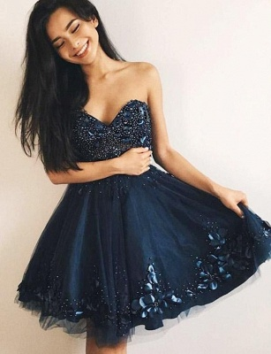 Charming Tulle Quinceanera Beading Romantic Sweetheart Mini Dama Dress_1