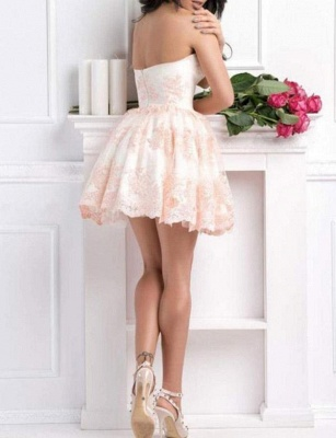 Modern Appliques Quinceanera Lace Romantic Sweetheart Mini Dama Dress_4