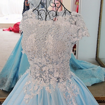 Glamorous Appliqued Lace-up Ball Gown Quinceanera Dressses_5