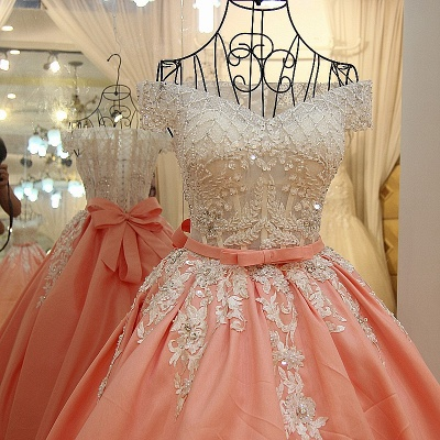 Off-the-shoulder Beading Ball Gown Quinceanera Dresses with Sash_1