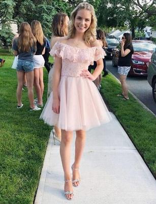 Mini vestido de regreso a casa elegante | de tul con encaje fuera del hombro_1