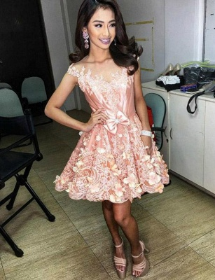 Unique Quinceanera Appliques Jewel Bow Sleeveless Mini Dama Dress_3
