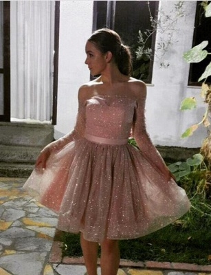 Unique Long Sleeves Quinceanera Strapless Off-the-Shoulder Short Sweet 16 Dama Dress_1
