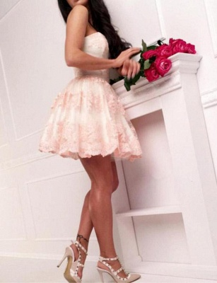Modern Appliques Quinceanera Lace Romantic Sweetheart Mini Dama Dress_5