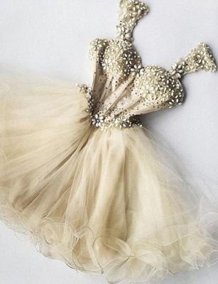 Impresionantes vestido de regreso a casa | con correas una línea de tul abalorios corto_1