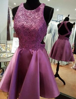 Moderno mini vestido de regreso | una línea de apliques joya encaje sin mangas_1