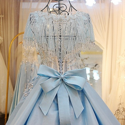 Crystal Beading Short Sleeves Appliqued Court Train Quinceanera Dresses_4