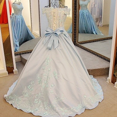 Ball Gown Appliques Beading Flowers Ribbon Bow Quinceanera Dresses_3