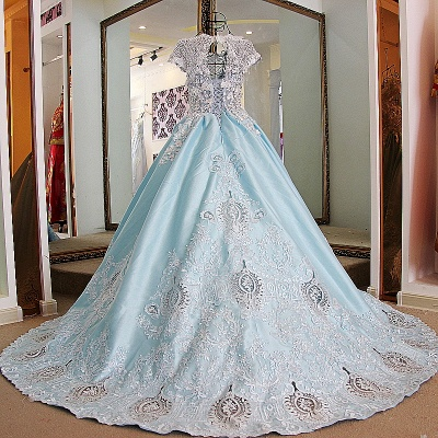 Glamorous Appliqued Lace-up Ball Gown Quinceanera Dressses_2