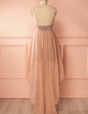 Charming Quinceanera Sequins Spaghetti Straps Sexy V-Neck High Low Sweet 16 Dama Dress_3
