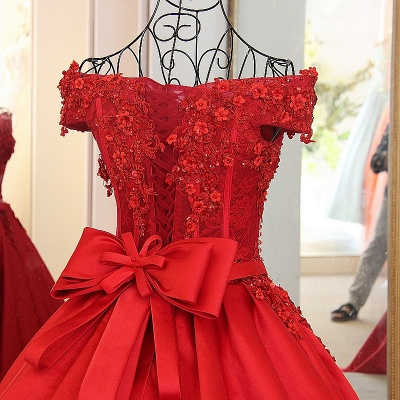 Off-the-shoulder Crystal Beading Ribbon Sash Quinceanera Dresses_4
