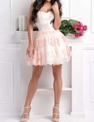 Modern Appliques Quinceanera Lace Romantic Sweetheart Mini Dama Dress_3